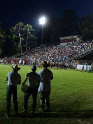 "Friday, ""The Pit,"" home of the Minden Crimson Tide,"