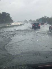 Route 80, near Exit 62 in Elmwood Park, was flooded