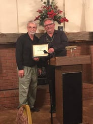 Bill Denney names Michael Shinabery the Cloudcroft Citizen of the Year 2017, honoring him during the Cloudcroft Chamber of Commerce Banquet on Saturday.