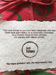 These holiday cards were made in Haiti from handmade