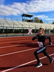 Kylen Kiser, 11, completed his first 5K at the Greencastle