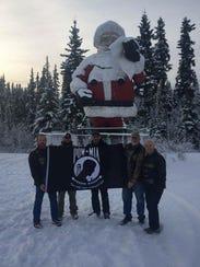 The POW MIA flag flew over the North Pole in Alaska