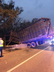 A tractor-trailer derailed on Warfield Boulevard near