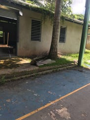 Damage done to a school in Barranquitas, Puerto Rico.