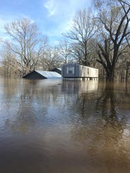 Flooding at Jeremy Harrell's camp east of Marion along