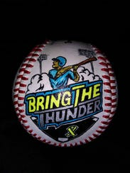A baseball with the colorful event logo.