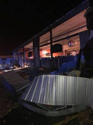 Storm damage at the Southern Meat Market in Sterlington