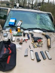 An assortment of items found in Adams' vehicle.