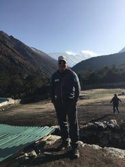 Matt Brennan at the the camp of Pheriche, 14,300 feet,