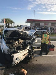 Multiple people were injured in a crash on Palm Bay