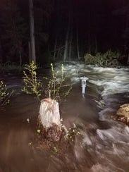 Stonewall Creek was raging Friday night.