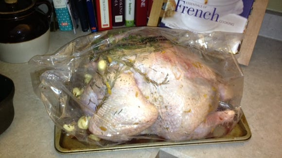 Dry brined recipe from the NYT website. Yum.