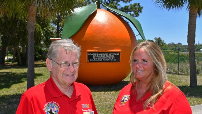 Brian Mitchell, past commander, and Jo Ann Daszuta, commander, pose in front of the iconic Orange located next to their office. An Open House celebrating 70 years will be held Sunday, May 21 at the Disabled American Veterans (DAV) J.L.Golightly Chapter #32 on 2265 N. Harbor City Blvd. The chapter is named after James L. Golightly, a Brevardian killed in World War II.