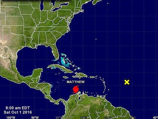 The locations of Hurricane Matthew and another system being monitored at 8 a.m. Saturday.