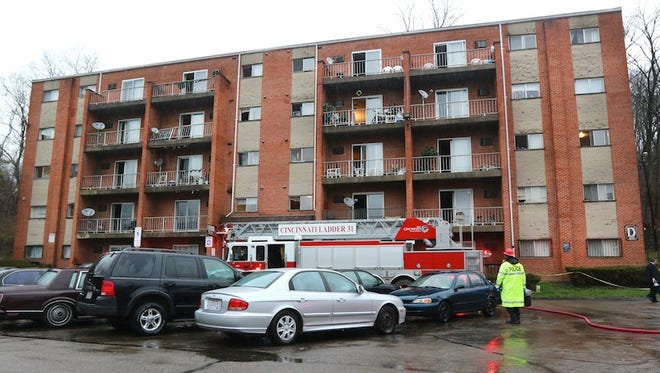 Wednesday, March 26, 2014 A fire broke out at the  Kings Tower Apartments in Madisonville shortly before 6 a.m. Thursday morning. Several fire companies responded.  It went to a 4-alarm after a firefighter fell down the elevator shaft while trying to rescue residents. He later died at University of Cincinnati Medical Center.  The Enquirer/ Liz Dufour