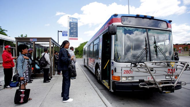 This is the Louis Stokes Station at Windermere in East Cleveland  where  passengers  are  waiting by the RTA's HealthLin. It  is a state-of-the art bus-rapid transit (BRT) system that offers rail-like convenience with the flexibility of a bus.