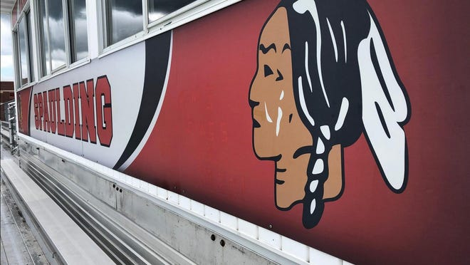 The Spaulding High School Red Raiders logo, seen at the school's football stadium in Rochester, could be changed depending on the result of a School Board vote.