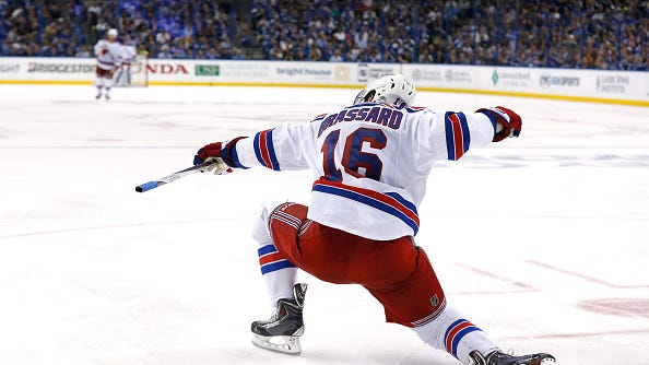 Derick Brassard (16) of the Rangers celebrates one of his three goals in Game 6 of the Eastern Conference Final Tuesday in Tampa. The Rangers and Lightning will play Game 7 Friday at the Garden, where the Rangers are 7-0 all-time in Game 7s.