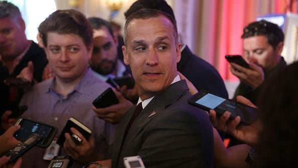 PALM BEACH, FL - MARCH 11: Corey Lewandowski campaign manager for Republican presidential candidate Donald Trump speaks with the media before former presidential candidate Ben Carson gives his endorsement to Mr. Trump at the Mar-A-Lago Club on March 11, 2016 in Palm Beach, Florida. Presidential candidates continue to campaign before Florida's March 15th primary day. (Photo by Joe Raedle/Getty Images)