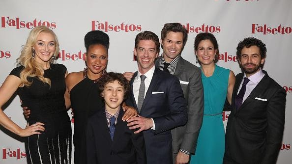"""Betsy Wolfe, Tracie Thoms, Anthony Rosenthal, Christian Borle, Andrew Rannells, Stephanie J. Block and Brandon Uranowitz pose at The Opening Night After Party for """"Falsettos"""" on Broadway at The New York Hilton Midtown in 2016 in New York City."""