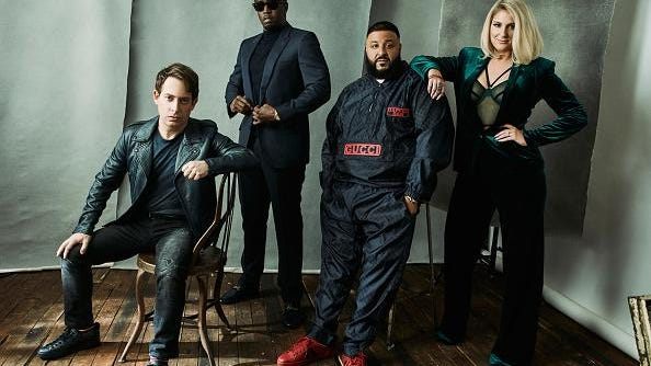"""Charlie Walk, Sean 'Diddy' Combs, DJ Khaled, and Meghan Trainor from FOX's """"The Four"""" pose for a portrait during the 2018 Winter TCA Tour at Langham Hotel on Jan. 4 in Pasadena, California."""
