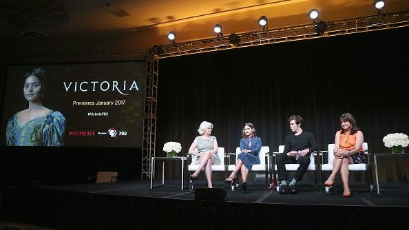 "Series executive producer Rebecca Eaton, actors Jenna Coleman, Tom Hughes and creator/writer/executive producer Daisy Goodwin speak onstage during the 'Masterpiece: ""Victoria' panel discussion at the PBS portion of the 2016 Television Critics Association Summer Tour at The Beverly Hilton Hotel on July 28, 2016 in Beverly Hills, California."