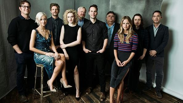 From left: John Erick Dowdle, Andrea Riseborough, Paul Sparks, Julia Garner, Gary Noesner, Taylor Kitsch, David Thibodeau, Melissa Benoist, Rory Culkin and Drew Dowdle of Paramount Network's 'Waco' pose for a portrait during the 2018 Winter TCA Tour at Langham Hotel on Jan. 15 in Pasadena, California.