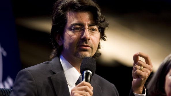 EBay founder Pierre Omidyar at a panel session at a Clinton Global Initiative gathering in 2010.