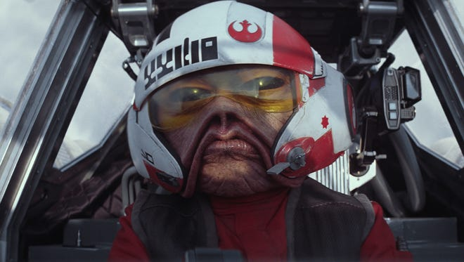 The Sullustan pilot Nien Nunb (Mike Quinn) flew with Lando Calrissian in the Millennium Falcon in 'Return of the Jedi' but is in the cockpit of an X-wing for 'Star Wars: The Force Awakens.'  Ph: Film Frame  © 2014 Lucasfilm Ltd. & TM. All Right Reserved..