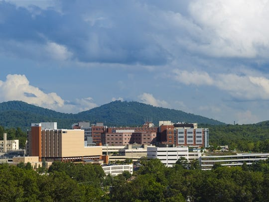 Mission Hospital is prominent on the Asheville skyline.