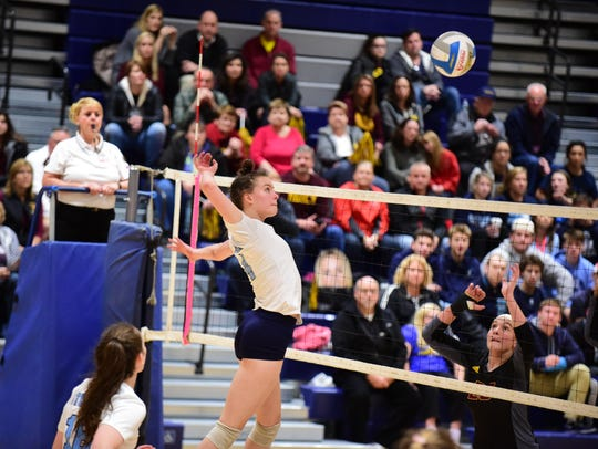 Livonia Stevenson's Libby Cleveland (4) delivers a