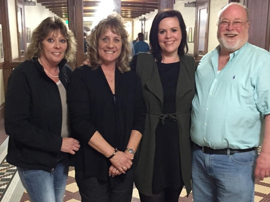 Several direct care workers and providers testified recently in front of the House Appropriations Committee. From left, Tracy Blazo, Lynn Morley, Kerry Dattilo and Jim Uecker