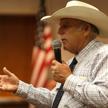 Cliven Bundy addresses those gathered for a political summit for the Independent American Party, Aug. 2.