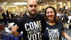 Bernie Sanders supporters James Hopkins of Newark and