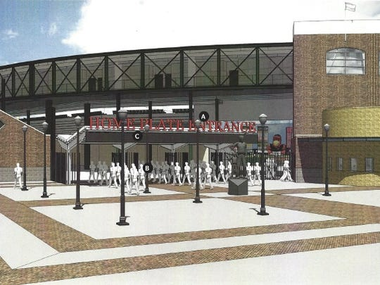 Proposed changes to the Frontier Field's front gate entrance, shown here in this 2014 rendering, remain under consideration.