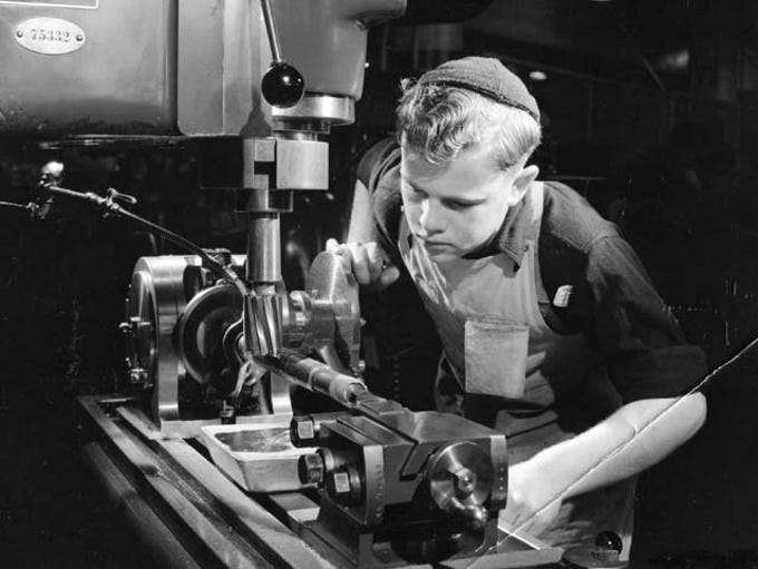 A young trainee at the Henry Ford Trade School in Dearborn