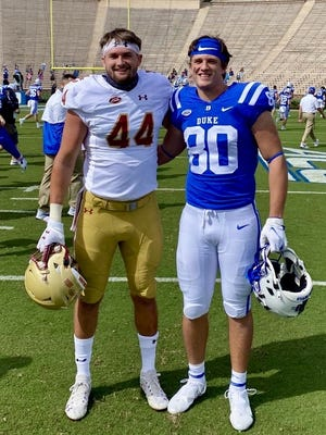 Brendan Smith (#44) is a tight end for Boston College and is a 2017 graduate of Needham High School. Matt Smith (#80) is a tight end for Duke University and is a 2019 graduate of Needham High School. Boston College won the Sept. 19 football game, played at Wallace Wade Stadium at Duke.