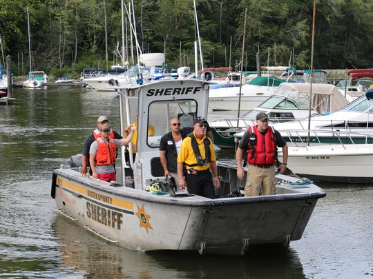 An Ulster County Sheriff's boat returns to the Margaret
