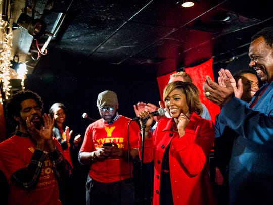Cincinnati City Councilwoman Yvette Simpson celebrates