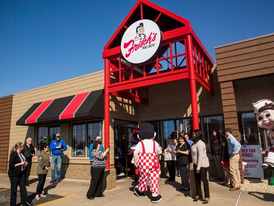 Frisch's Big Boy arrives at the unveiling of the remodeled