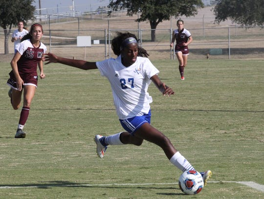Angelo State University's Trenadey Scott scored the game's only goal in a 1-0 shutout against Texas Woman's in the Lone Star Conference Women's Soccer Championship Tournament semifinals Friday in Canyon.