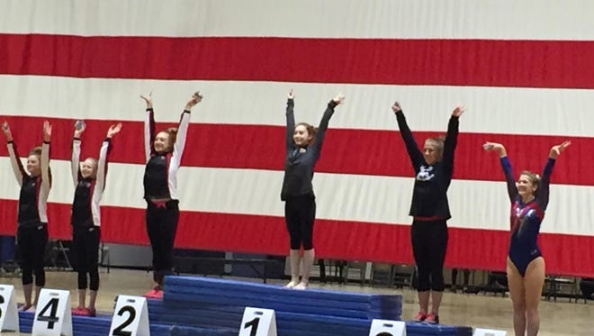 Rocky Mountain High School junior Autumn Bottke won the floor exercise at the 5A state championships in Thornton on Saturday.