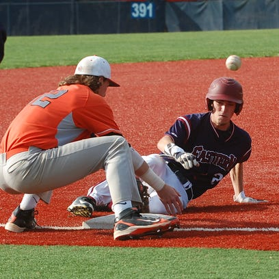 Ron Silvestro of Eastern is safe at third with a stolen base as the ball bounces away from Cherokee's John Gavura in the sixth inning of Monday's game.