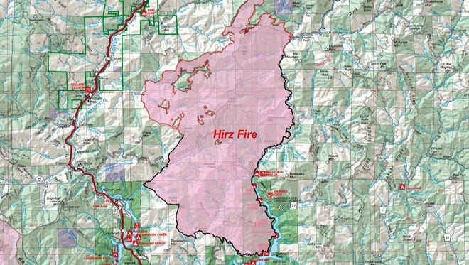 A map issued by the U.S. Forest Service shows the boundaries of the Hirz Fire as of Sept. 2.