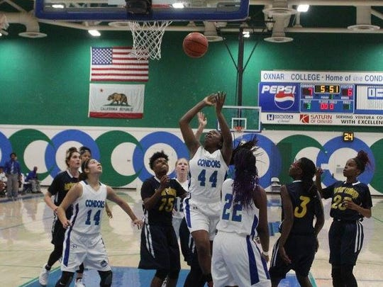 Sophomore center Rhonniesha Simpson is leading the Oxnard College women's basketball team in scoring and rebounding.