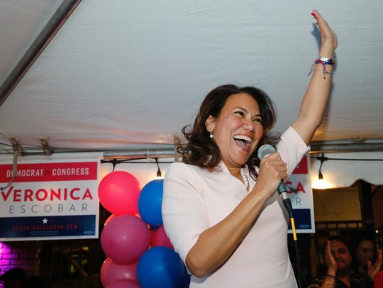 Former El Paso County Judge Veronica Escobar celebrates her Democratic Primary victory in her bid for the 16th Congressional District in March.