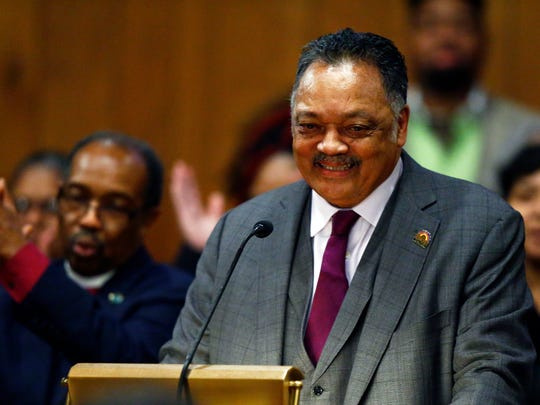 The Rev. Jesse Jackson speaks to guests during a visit to New Hope Missionary Baptist Church on Feb. 13, 2018, in Nashville.