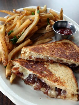 The grilled cheese at Lindberg's features Muenster cheese and onion jam.