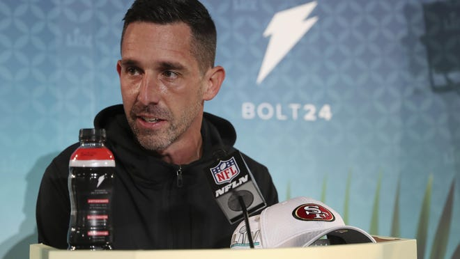 San Francisco 49ers head coach Kyle Shanahan speaks to the media during Super Bowl LIV Opening Night Monday in Miami.