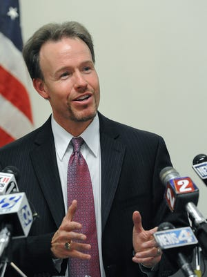 Former Washoe County School District Superintendent Heath Morrison holds a press conference in April 2012 to announce he will be resigning to take the same posistion with Charlotte-Mecklenburg Schools in North Carolina.